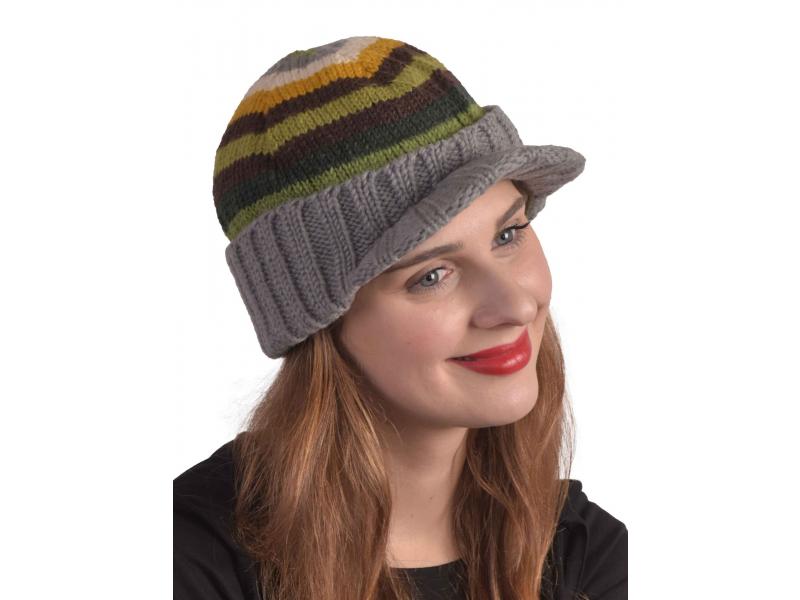 Čepice, Visor cap, kšilt, vlna, podšívka, pruhy zelené, hnědé, žluté