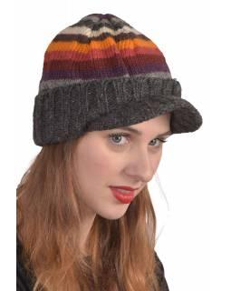 Čepice, Visor cap, kšilt, vlna, podšívka, pruhy šedé, oranž., červené