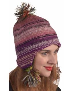 Čepice s ušima, unisex, multibarevná, podšívka