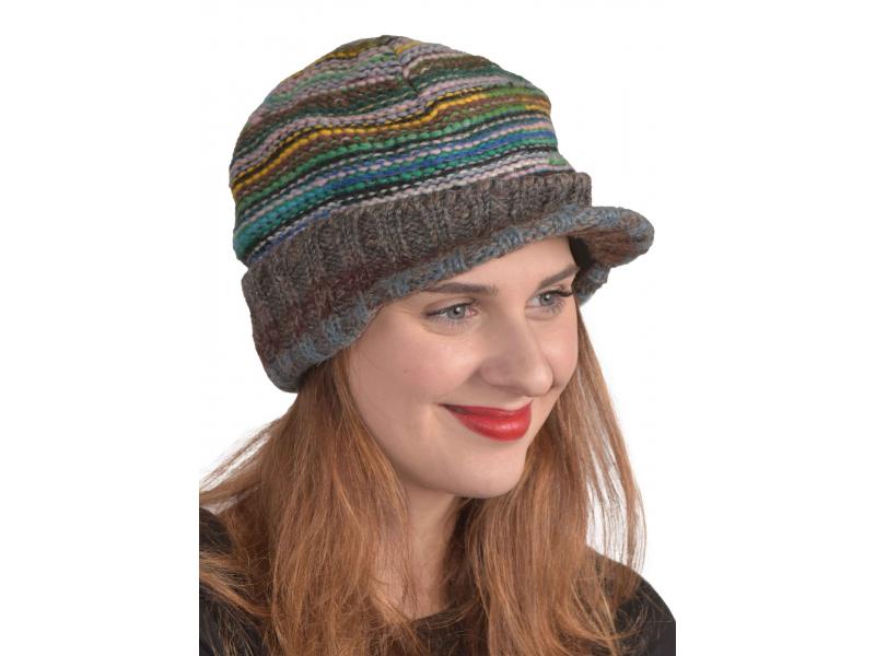 Unisex Čepice, Visor cap, kšilt, vlna, podšívka, multibarevná