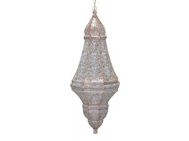 Kovová lampa v orientálním stylu, bílá, 37x37x85cm