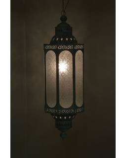 Kovová lampa v orientálním stylu, skleněná výplň, 27x27x85cm
