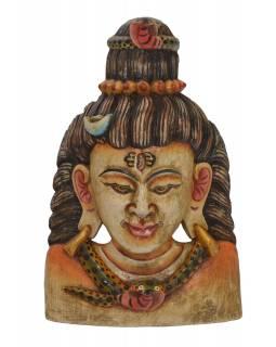 Dřevěná maska, Šiva, barvený, 24x13x38cm
