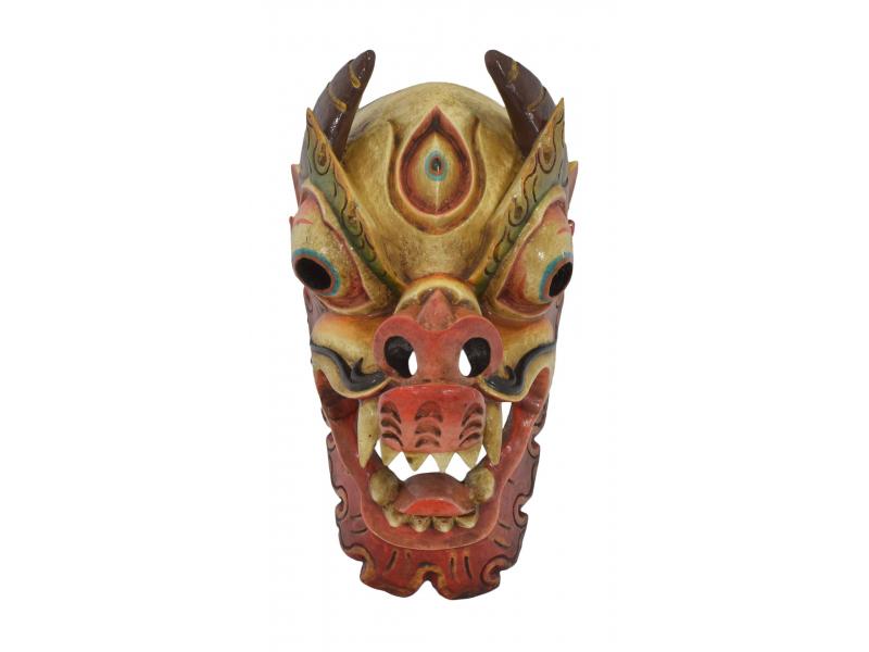 Dřevěná maska, Drak, barvený, 19x21x36cm