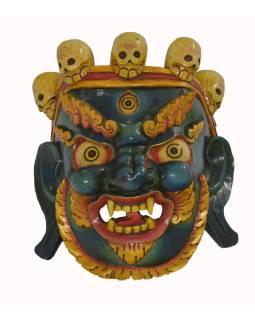 """Dřevěná maska, """"Bhairab"""", ručně vyřezávaná, 34x35x40cm"""