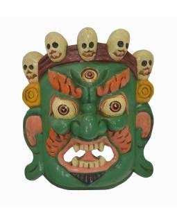 """Dřevěná maska, """"Bhairab"""", ručně vyřezávaná, 28x13x30cm"""