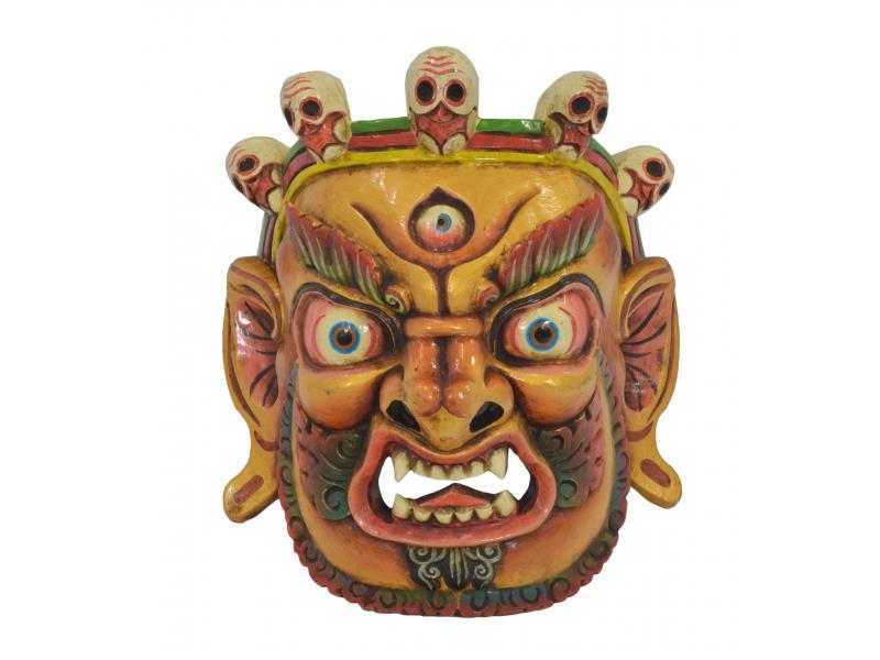 """Dřevěná maska, """"Bhairab"""", ručně vyřezávaná, 29x13x31cm"""