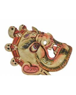 """Dřevěná maska, """"Bhairab"""", ručně vyřezávaná, 27x13x31cm"""