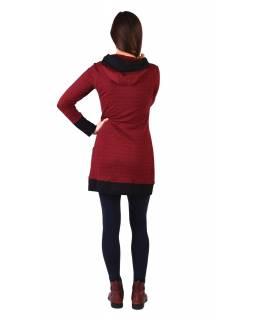 Mikinové šaty s dlouhým rukávem z biobavlny, vínovo-černé, drobný potisk, kapuca