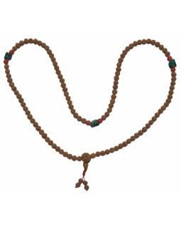 Mala Rudraksha s korálky, 108 korálků, průměr 8mm, délka 43cm + střapec 2cm