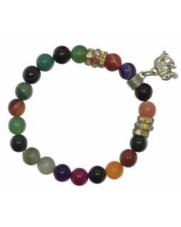 Náramek z Achátu, mix barev, 8 mm, gumička, obvod 15-24cm, + přívěšek slon