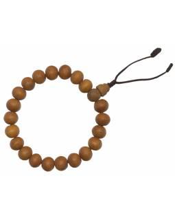 Náramek Santalové dřevo, 10 mm, gumička, obvod 17-23cm, střapec 4cm