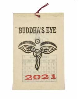 Kalendář na rok 2021 ručně tisklý na rýžovém papíru, 10x15cm