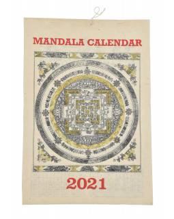 Kalendář na rok 2021 ručně tisklý na rýžovem papíru, 23x30cm