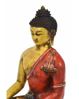 Buddha Šakjamuni, keramická socha, ručně malovaná, 28x18x44cm