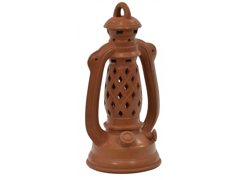 Vánoční terakotový svícen ve tvaru petrolejové lampy, cca 25cm