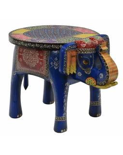 Stolička ve tvaru slona ručně malovaná, 51x34x39cm