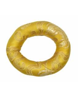 Podložka pod tibetskou mísu z žlutého brokátu, prům 8cm