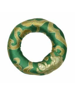 Podložka pod tibetskou mísu ze zeleného brokátu, prům 8cm