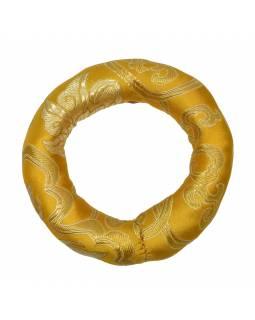 Podložka pod tibetskou mísu ze zlato-žlutého brokátu, prům. 11cm