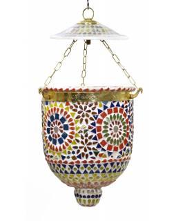Skleněné mozaikové stínidlo, ruční práce, 16x16x40cm