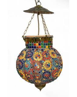 Skleněné mozaikové stínidlo, ruční práce, 25x25x44cm