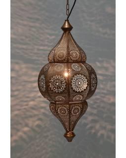 Kovová lampa v orientálním stylu, měděná barva, uvnitř tyrkysová, 22x52cm