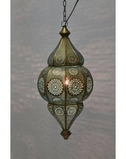 Kovová lampa v orientálním stylu, zlatá barva, uvnitř tyrkysová, 22x52cm