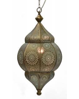 Kovová lampa v orientálním stylu, měděná barva, uvnitř tyrkysová, 34x52cm