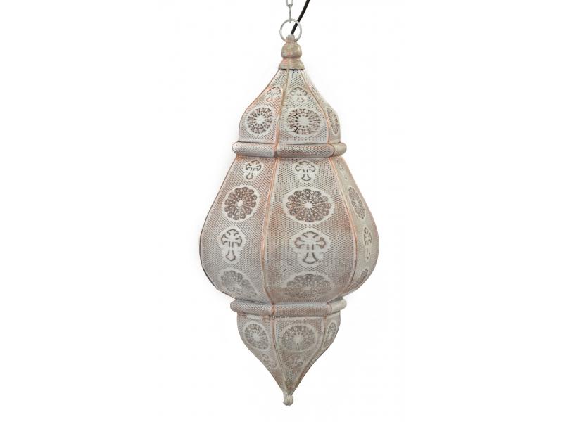 Kovová lampa v orientálním stylu, bílá barva, uvnitř bílá, 34x52cm