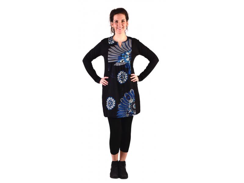 Tunika s dlouhým rukávem, černá s modrým potiskem květin
