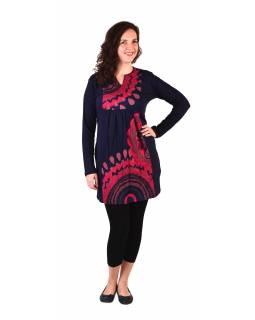 Tunika s dlouhým rukávem, tmavě modrá s růžovým potiskem