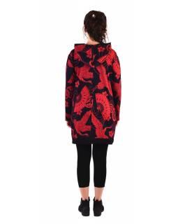Tunika s dlouhým rukávem, kapucí a kapsami, černá s červeným potiskem