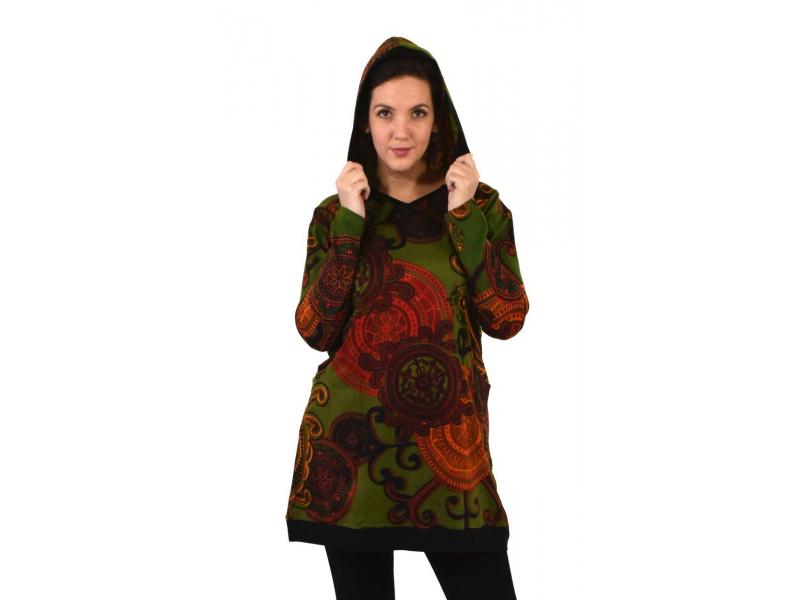 Tunika s dlouhým rukávem, kapucí a kapsami, khaki s potiskem mandal