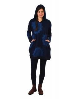 Tunika s dlouhým rukávem, kapucí a kapsami, tmavě modrá s mandalami
