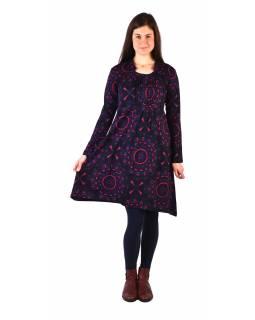 Šaty s dlouhým rukávem, sklady na prsou, tmavě šedé s modro-růžovým potiskem