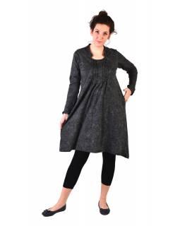 Šaty s dlouhým rukávem, sklady na prsou, šedé s paisley potiskem