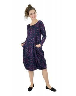 Šaty s dlouhým rukávem, kapsy na bocích, tmavě šedé s modro-růžovým potiskem