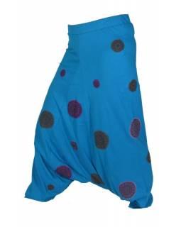 Tyrkysové turecké kalhoty s fialovými Chakra aplikacemi, elastický pas