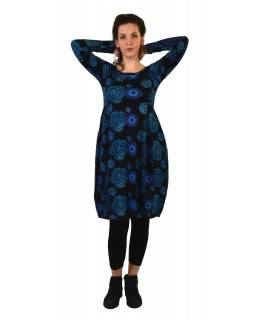 Šaty s dlouhým rukávem, kapsy na bocích, černé s modrým potiskem