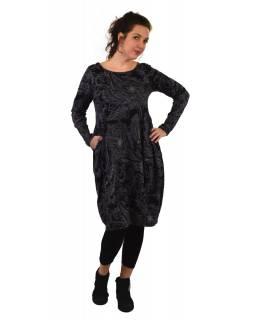 Šaty s dlouhým rukávem, kapsy na bocích, černé s šedým potiskem