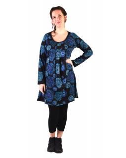 Šaty s dlouhým rukávem, sklady na prsou, černé s modrým potiskem