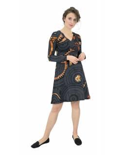 Šaty s dlouhým rukávem, výstřih do V, tmavě šedé s oranžovým potiskem