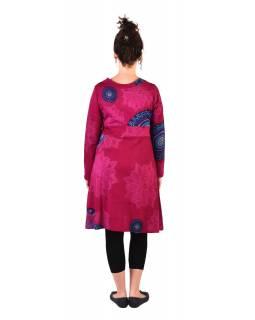 Šaty s dlouhým rukávem, výstřih do V, tmavě růžové s tyrkysovým potiskem