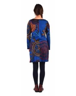 Šaty s dlouhým rukávem, kulatý výstřih, tmavě modré s barevným potiskem