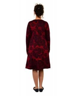 Šaty s dlouhým rukávem, dvě kapsy, vínové s černým potiskem
