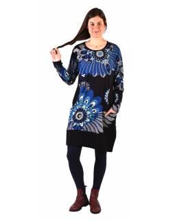 Šaty s dlouhým rukávem, dvě kapsy, černé s modrým potiskem