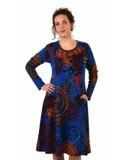 Šaty s dlouhým rukávem, dvě kapsy, tmavě modré s barevným potiskem