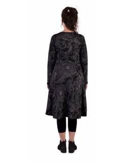 Šaty s dlouhým rukávem, dvě kapsy, černé s šedým potiskem