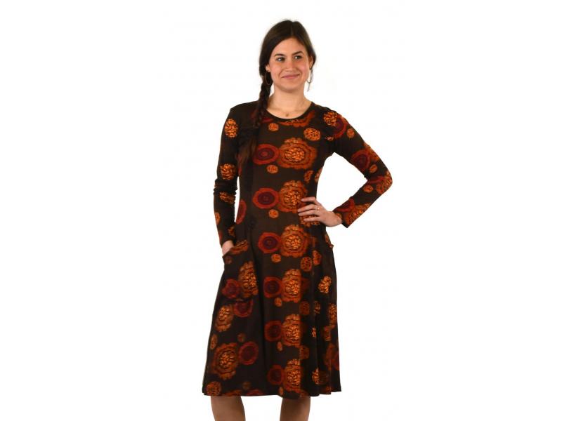 Šaty s dlouhým rukávem, dvě kapsy, hnědé s červeno-oranžovým potiskem